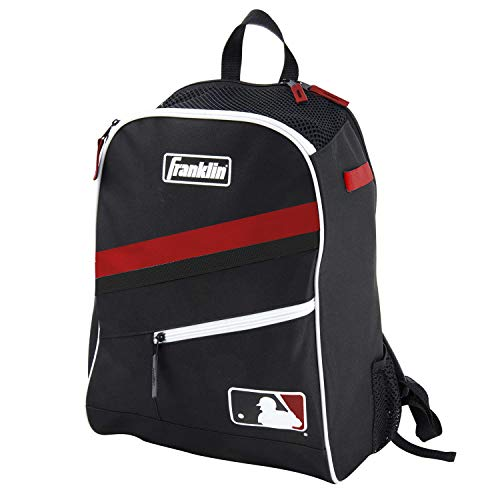 Franklin Sports MLB Batpack Bag - Youth Baseball, Softball and Teeball Bag - Equipment Bag for Sports - Bag Holds Bats (2) and Includes Fence Hook - Black/Red/White