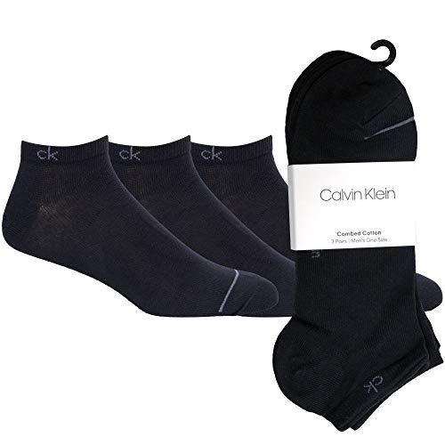 Calvin Klein ECR274 Herren Sneakersocken, 3er Pack, Schwarz, 40/46 Calzini, blu navy, Taglia unica Uomo