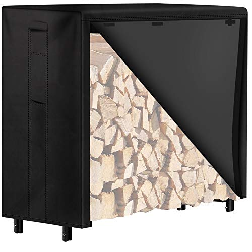 Amagabeli 4ft Firewood Log Rack Cover Combo Set Waterproof Outdoor Log Holder for Fireplace Heavy Duty Wood Stacker for Patio Kindling Logs Storage Steel Tubular Wood Pile Rack Tool Accessories Black