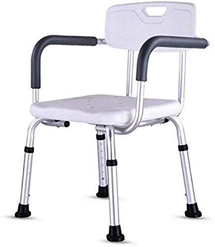 JPVGIA Badezimmer-Stuhl for Badezimmer-Sitze - Leichte Aluminium - höhenverstellbar - mit Armlehnen Lagern for ältere Menschen mit Behinderungen 200 Kg