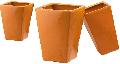 Vaso Quadro Céramique Rosenpot Couleur ORANGE (Set Pz.3) cm.17x17x34h. - Cm.23x23x37h. - Cm.30x30x42h.
