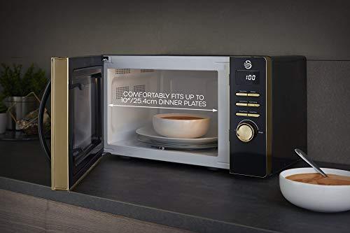 41FUtfNXx1L - Swan Gatsby Black and Gold 800W Digital Microwave, 23 Litre, Digital Display, Variable Power Settings, Auto Cook Menu…