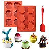 2 Pcs Molde de silicona con forma de disco de 6 cavidades,Moldes redondos de silicona con forma de cilindro de 6 agujeros,Molde de silicona con cilindro, para cubierta de chocolate, galletas