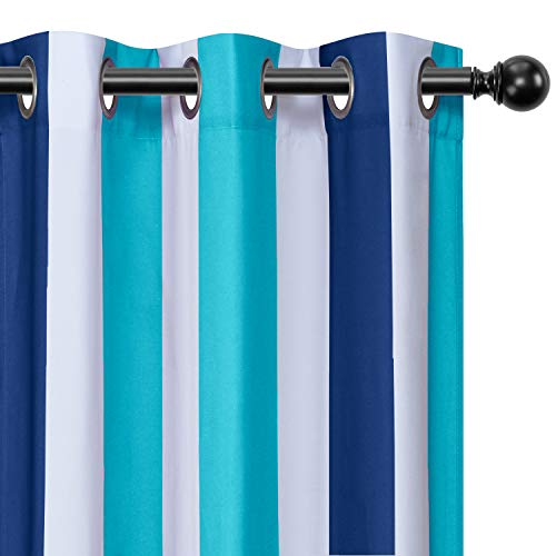 LORDTEX Navy and Blue Striped Kids Curtains for Bedroom - Light Filtering Polyester Cotton Blended Grommet Window Drapes for Boys and Girls Room, 36 x 54 Inches Long, Set of 2 Panels