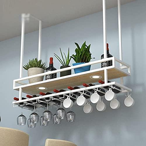 Kitchen Shelf Cremagliera da Muro per Bar Cucina da Cucina Organizzatore di scaffale per Vino in Ferro battuto Bottiglia per Vino Optional with Spotlight for Living Room Display