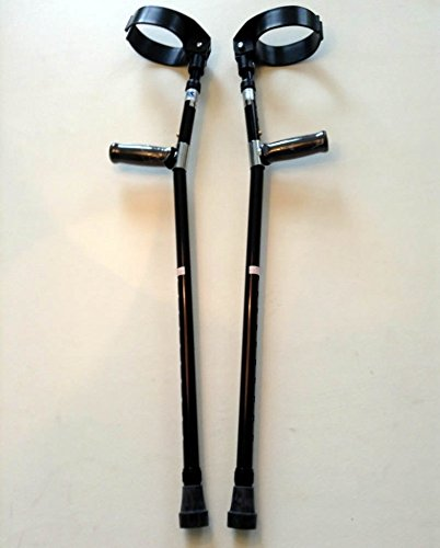 Walking Lightweight Adjustable Forearm Crutches Size M (Pair) (Black)