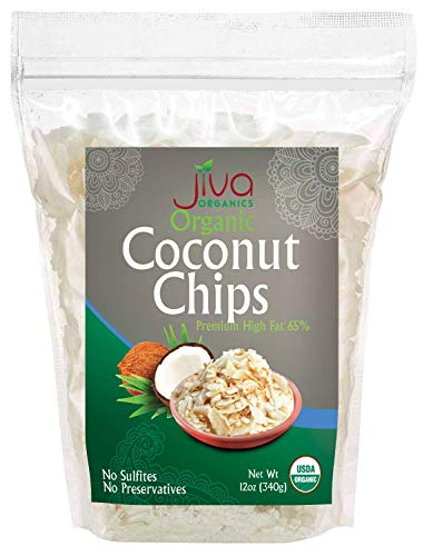 Jiva Organics Organic Raw Coconut Chips 12 ounce Bag Unsweetened - Sulphate Free, Keto, Paleo Friendly, Non-GMO, Gluten-Free