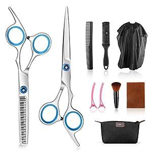 Tijeras de peluquería, AGPTEK 10 Pcs Juego de Tijeras de Peluquería con Capa de Barbero y Peine de Maquinilla de Afeitar, Clips, Set de Corte de Pelo
