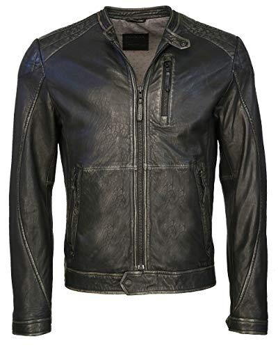 MUSTANG Flinders - Giacca in pelle da uomo con cuciture, colore: nero Nero M