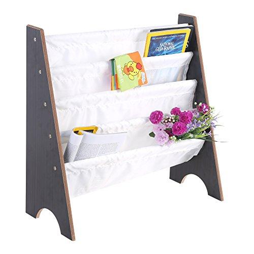 Greensen Bücherregal, 4 fächer Kinder Büchergestell Kinderregal Kinderzimmerregal Spielzeugregal Büchergestell 62 x 26.5 x 63 cm (Weiß)