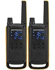Motorola Talkabout T82 Extrem - Walki-Talkis, Alcance hasta 10 Km, Pantalla Oculta, Linterna LED, color Negro y Amarillo
