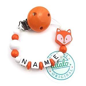 Baby Schnullerkette mit Namen, Fuchs, Orange Weiß, Clip Orange, Handmade Namenskette/Schnullerhalter zur Geburt…
