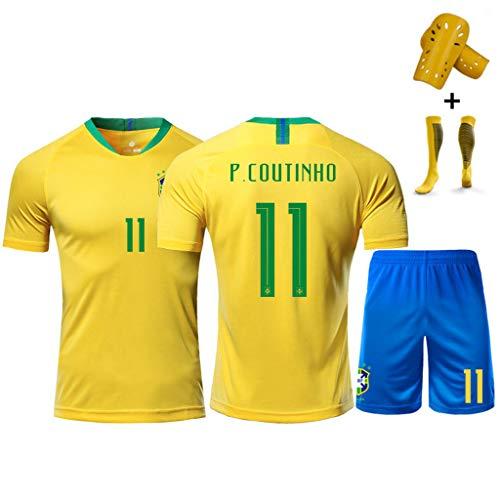 2018-19 Brasilien Nationalmannschaft Trikot # 10 Neymar JR, 11 P. Coutinho, 9 G. Jesus, Fußballtrikot Trainingshemd + Socken + Shorts, Mann/Kinder-#10-26