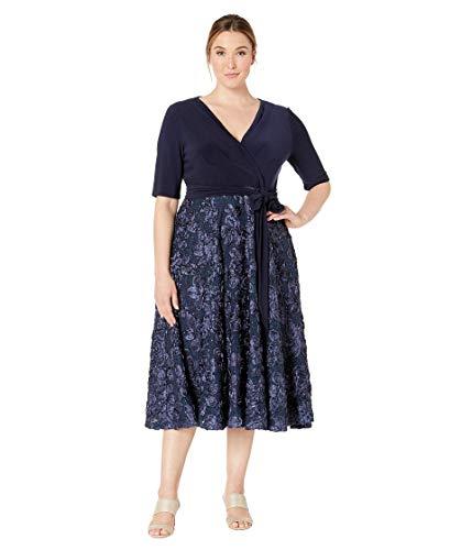 Alex Evenings Women's Plus Size Tea Length Dress with Rosette Detail, Navy Tie Front, 18W