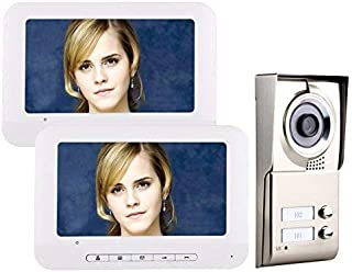 GAMWATER 7inch LCD 2 Apartments Video Door Phone Intercom System IR-Cut HD 1000TVL Camera Doorbell Camera with 2 Button 2 Monitor Waterproof Electric Lock-Control Function