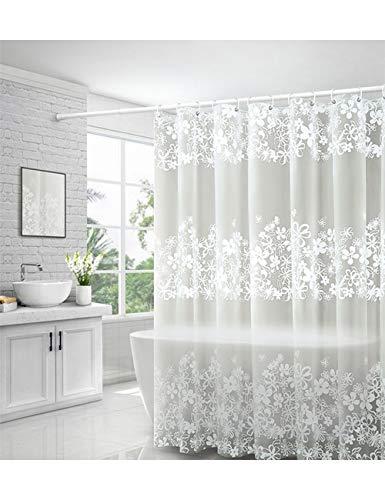 Zhhlaixing Duschvorhang 120x180 Anti-Schimmel, Anti-Bakteriell, Wasserdicht, Waschbar, Halb-Transparent, Umweltfre&lich PEVA Vorhang mit Ringe für Badezimmer Badewanne