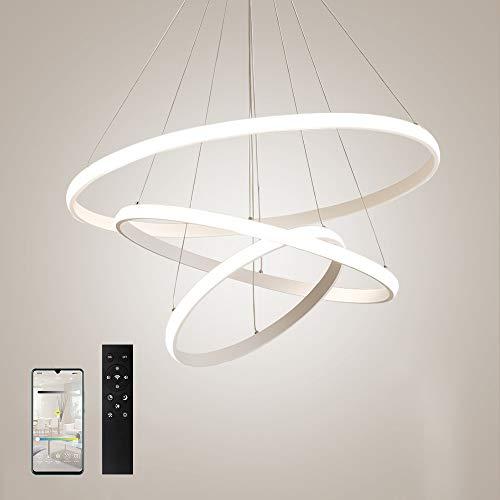 ERWEY Dimmbar Pendelleuchte LED Deckenleuchte Höhenverstellbar Wohnzimmer Designleuchte Deckenlampe Schlafzimmer Modern Kronleuchter Hängelampe Ring (3 Ringe, Weiß-Dimmbar)