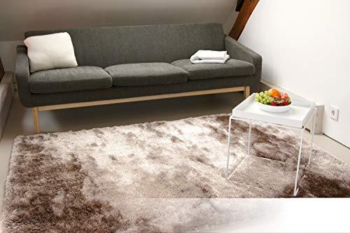 Exklusiver Hochflor Shaggy Teppich Satin Hellbraun 80x150 cm - edler, seidig glänzender Teppich