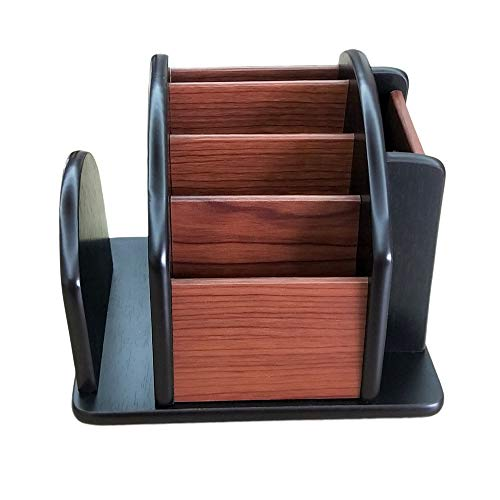 Revolving Remote control caddy,Wooden pen holder for desk office supplies stationery storage, Multi function home & office desktop organizer YCL875R