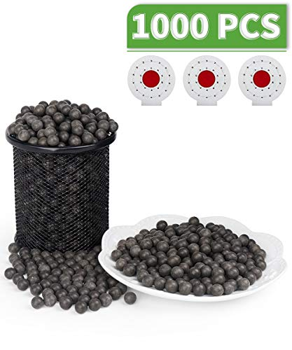 LuckIn 3/8 Inch Slingshot Ammo Balls with 3 Pcs Target, Biodegradable Clay Slingshot Ammo, Soil Color, 1000 Pcs