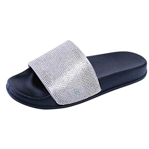 Dorical Hausschuhe Damen Glitzer Sandale Pantoletten Flandell Sandalen Outdoor Sommerschuhe Sandaletten Dusch Badeschuhe Flip Flops rutschfest Leicht Badesandalen Elegant Party Schuhe(Schwarz,40 EU)