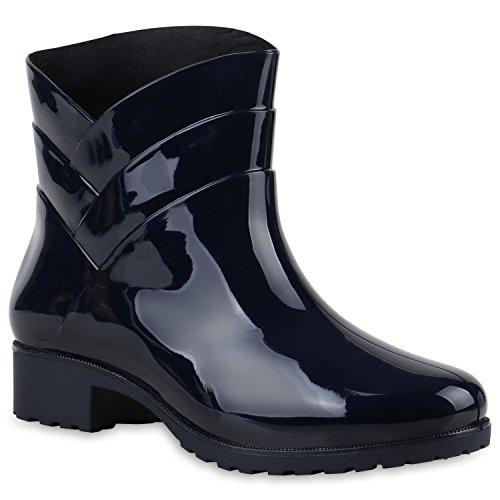 Damen Gummistiefel Profilsohle Stiefel Regen 124121 Dunkelblau Carlton 39 Flandell