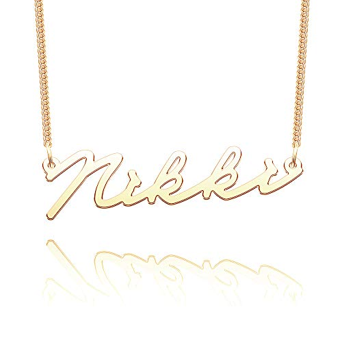 EV.YI Jewels Stainless Steel Plated Silver Personalized Customized Name Necklace