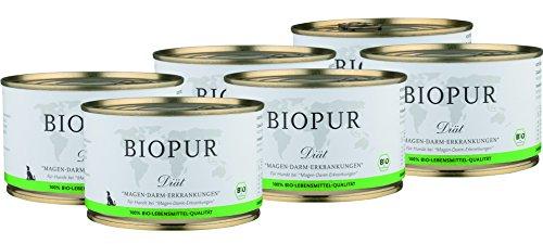 BIOPUR Bio Diät-Hundefutter bei Magen-Darm-Erkrankungen für Hunde 6x400g