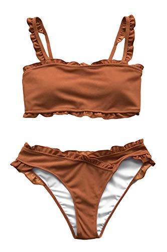 CUPSHE Süße Karamel Bikini Mit Passe, M
