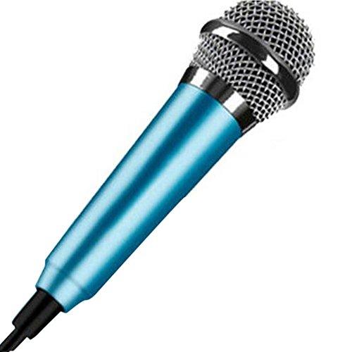 Mini 3,5 mm Kondensator-Mikrofon für Handy, Computer, Karaoke, Handheld, Kleiner Recorder für Handy mit Kabel, Karaoke, blau