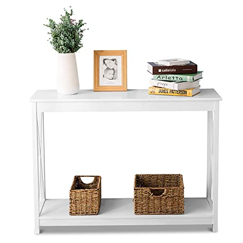 PAKUES-QO X Structure Console Table Stylish And Sturdy Console Narrow Entry Table For Entryway Hallway Sofa - White