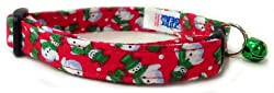 a snowman patterned cat collar