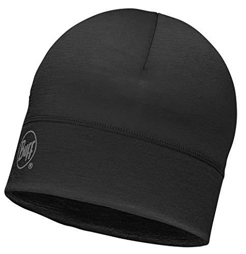 Buff® Merino HAT, Naturfaser, eine Lage 100{1479522d1b7594b90329a88371865c3f47b31db28c8e14a98144c1a9497f0bcb} Merino-Wolle, schwarz, grün oder blau (Solid Black)