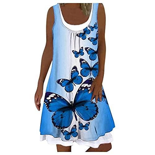 Sommerkleid Damen Casual Lose Ärmellos Kleid Knielang Freizeitkleid Strandkleid Rundhals Kurzes Blume Drucken Gefälschtes Zweiteiliges Kleid Boho Sommerkleid Frauen T-Shirt Kleid