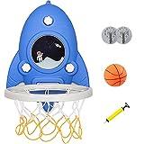 TXYJ Mini Bonito Aro de Baloncesto para Interior, Tablero Montado en la Pared, Forma de Cohete, Juguetes para Niños, Accesorios de Habitación para El Hogar, Dormitorio, Jardín de Infantes,Azul