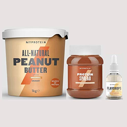My Protein All Natural Peanut Butter Original Crunchy 1kg, Protein Spreads Milk Chocolate 360g & Flavdrops Peanut Butter 50ml Bundle All-Natural and A Great Source of Nutritious Protein Pack