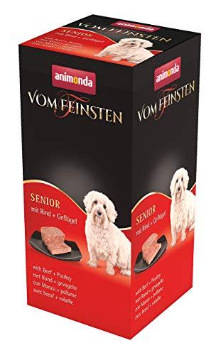 animonda Vom Feinsten Senior Hundefutter, Nassfutter für ältere Hunde ab 7 Jahren, mit Rind + Geflügel, 6 x 150 g