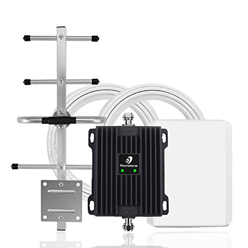 Phonetone Cell Phone Signal Booster for Home and Office Up to 5,000 Sq Ft | Boost 4G LTE Data for Verizon and AT&T | 65dB Dual Band 12/17/13 Cellular Repeater with High Gain Antennas