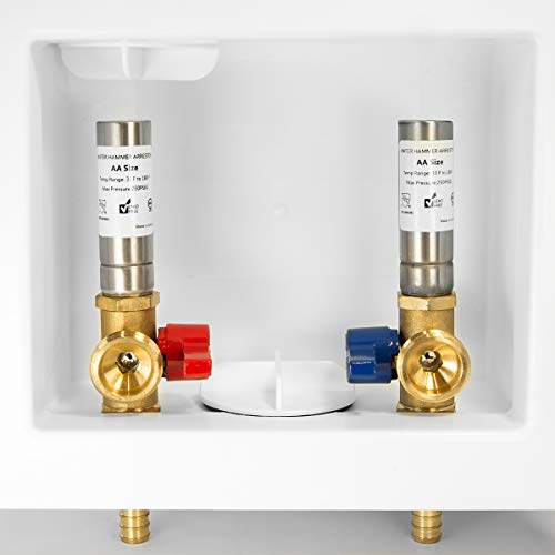EFIELD Washing Machine Outlet Box with Center Drain with Brass 1/4 Turn Valves Installed, 1/2' PEX F1807 Crimp X 3/4' MHT Connect With Stainless Steel Water Hammer Arrester