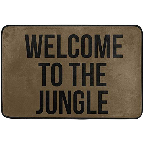 dingjiakemao Felpudo Delantero,Welcome To The Jungle Machine Washable Rug Non Slip Mats Bathroom Kitchen Decor Area Rug 60 X 40 Cm