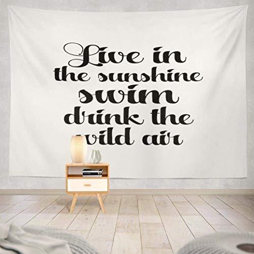 Duanrest Wandteppich,Sonnenschein, weißer moderner Pinsel Kalligraphie Wildes Zitat Live Sunshine Swim, weißer moderner Pinsel Wandteppich für zu Hause 229x152cm