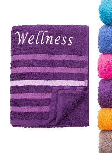 Strandtuch Saunatuch Badetuch 80x200 cm 100% Baumwolle in Verschiedene Designs, Wellness Lila
