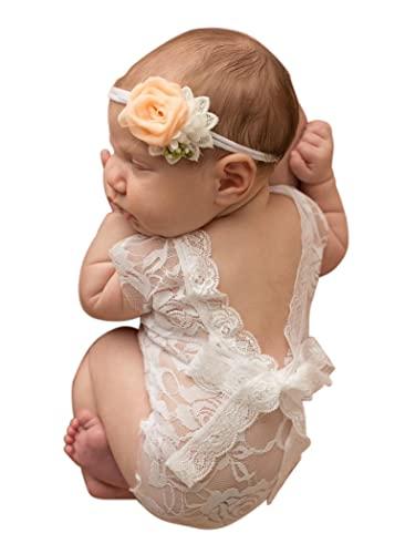 Mummyhug recién nacido lindo bebé niña fotografía Prop chaleco mono con Bowknot (Blanco)