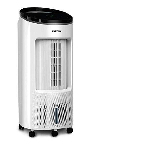 Klarstein IceWind Plus - Enfriador de aire 4 en 1, Ventilador, Humidificador de aire, Limpiador de aire, Caudal de 330 m³/h, 49 W, Función NatureWind, 4 niveles de intensidad, 3 modos, Blanco floral