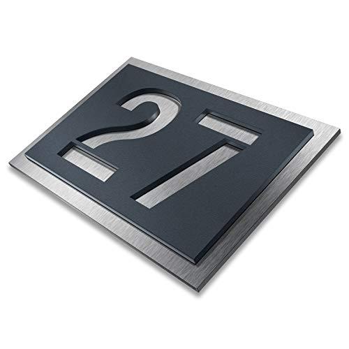 Metzler Hausnummer aus Edelstahl - wählbar in Anthrazit-Grau RAL 7016 / Schwarz/Weiß/Blau - Rostfrei & wetterfest, individuell - nach Wunsch - made in Germany