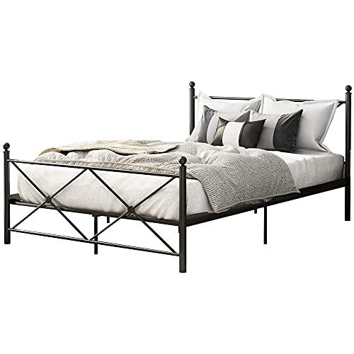 Metallbett 140x200 cm Schwarz auf Stahlrahmen mit Lattenrost Bettgestell mit Kopfteil Design Doppelbett Ehebett Gästebett (Schwarz-2, 140 X 200 cm)