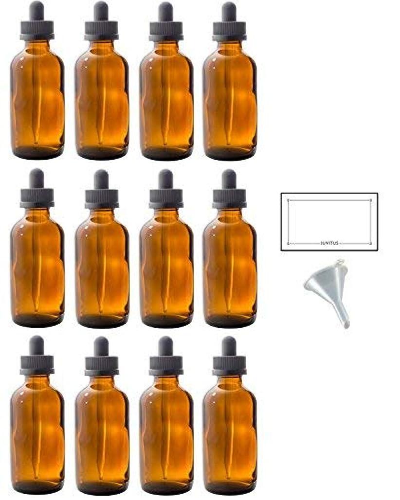 架空のシャンプー連結する4 oz Amber Glass Boston Round Dropper Bottle (12 pack) + Funnel and Labels for essential oils, aromatherapy, e-liquid, food grade, bpa free [並行輸入品]