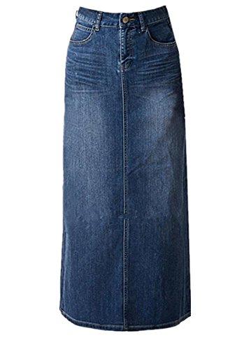 Women's Maxi Pencil Jean Skirt- High Waisted A-Line Long Denim Skirts For Ladies- Blue Jean Skirt,Blue,18 Plus