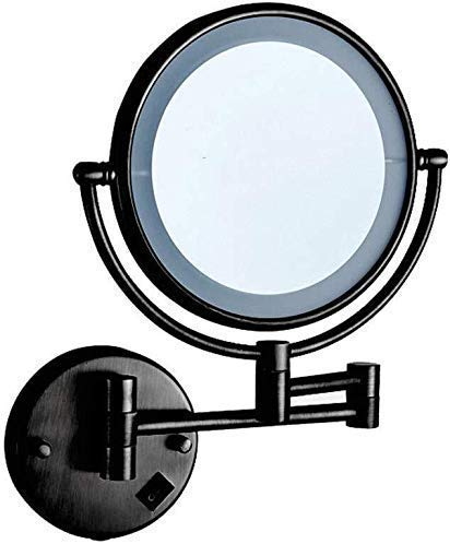 JUNYYANG Makeup mirror LED Makeup Mirror Double-Sided Wall Mounted Bathroom Mirror Vanity Makeup and Shaving Mirror | 8 inch 3x Magnification | 360° Rotating Adjustable Extendable