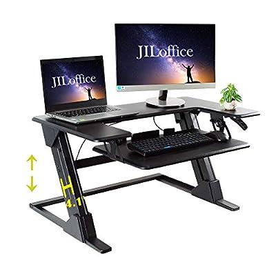 JILoffice Standing Desk Converter with Height Adjustable - Black Tabletop Workstation - Sit to Stand Up Desk Riser